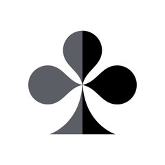 Playing cards game symbol, Clover, isolated.