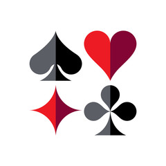 Playing cards game symbols, isolated. Spade, Heart, Diamond and Clover.