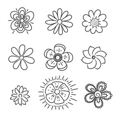 Doodle flowers set. Hand drawn line brush element for wedding, birthday, greeting cards or print for the balloon, t-shirts, notepad, pillows
