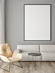 Mock up poster in Scandinavian interior concept, Sofa, armchair and table, 3d render, 3d illustration