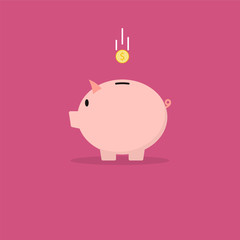 Piggy bank with coin. Vector illustration in flat style