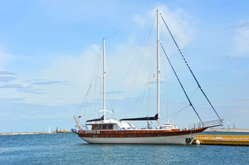 Sailing yacht in jetty