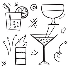 Cocktail icon set isolated on white background. Alcohol cocktail glasses and beverage in glass for drinking on white background vector icon