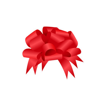 Realistic red bow with transparent shadow. Vector illustration EPS10 isolated on white. Festive decorative element for design. Holiday glossy ornament for gift decoration Christmas, New Year,