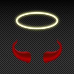 Devil horns and shining angel nimbus. Heaven and hell vector symbols isolated