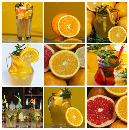 A Collage Of Various Orange Color Juices From Tropical Fruit