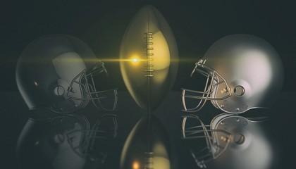 American football helmets and trophy ball on black dark background, 3d rendering