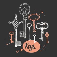 Vector set of hand-drawn antique keys. Illustration in sketch style on black background. Old design