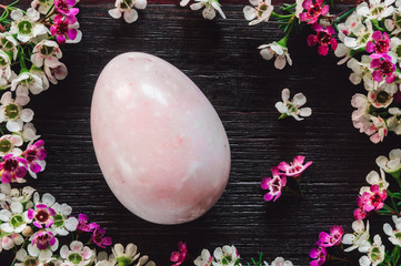 Pink Stone Egg with Waxflowers