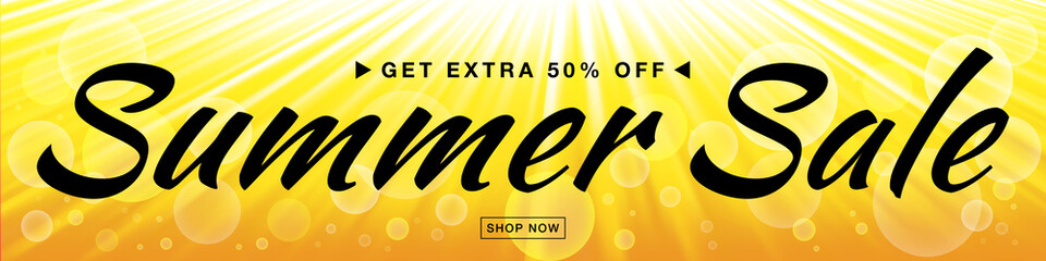 Summer sale template vector banner with sun rays.  Glow horizontal sunlight yellow background. Sunshine glare heat with flash rays and bubbles backdrop. Campaign sale 50% off. Vector Illustration
