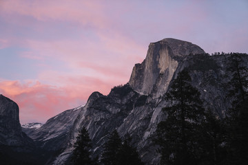 Mountain at sunset, Yosemite National Park, California, USA