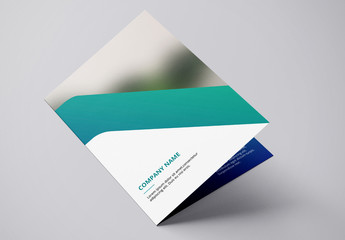 Brochure Layout with Diagonal Blue and Teal Accents