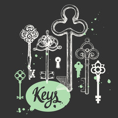 Vector set of hand-drawn antique keys. Illustration in sketch style on black background. Old design