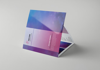 Square Trifold Brochure Layout with Purple Accents