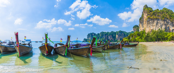 Wall Mural - Long tail boats on Railay beach in Krabi region, Thailand