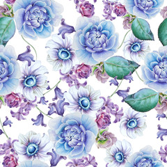 Bright seamless pattern with flowers. Anemone. Peony. Watercolor illustration. Hand drawn.