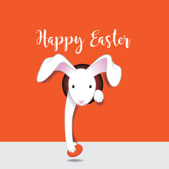 Happy Easter design with cartoon Easter bunny delivering an egg through a hole in the page. EPS10 vector illustration.
