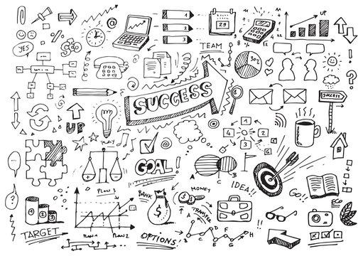 Hand drawn success doodles