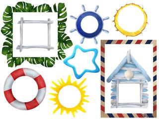 Drawn frames, beach, summer, vocation set clip art white isolated