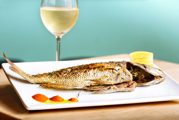 Rockfish Entree with Galss of White Wine