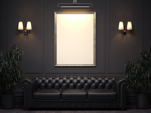 Dark classic interior with sofa and picture frame on wall. 3d rendering