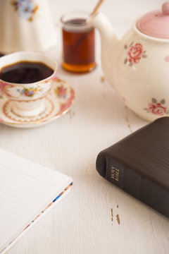 Morning Bible Study with a Hot Drink with a Pink Tea Set