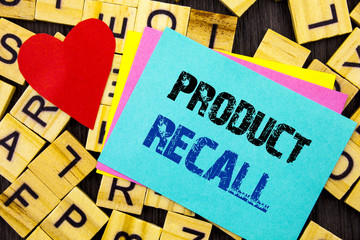 Handwritten text showing Product Recall. Conceptual photo Recall Refund Return For Products Defects written on colorful sticky note on the letter background Love Heart for Loving
