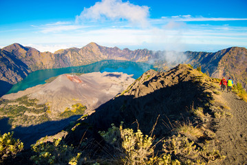Poster Lavendel View of the Rinjani volcano crater - Lombok, Indonesia.