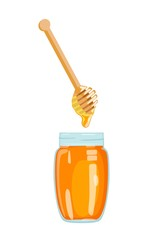 Honey, draining from ladle into glass jar. Vector illustration.