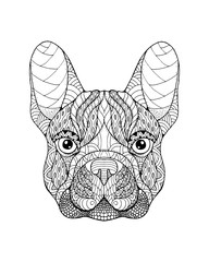 French Bulldog dog zentangle stylized. Freehand vector illustration.