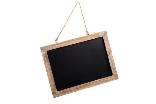 Blank vintage chalkboard with wooden frame and rope for hanging, isolated on white background