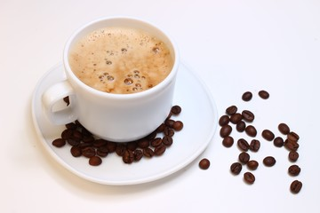 Cappuccino, coffee beans