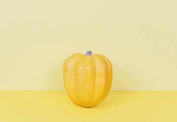 Yellow pumpkin on pastel yellow background.