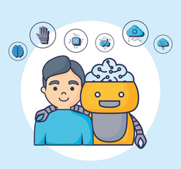 Artificial intelligence design with cartoon robot and man  with related icons around over white circle and blue background, colorful design vector illustration