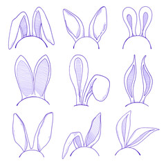 Sketch set of the ears of the Easter bunny. Vector. Happy easter.