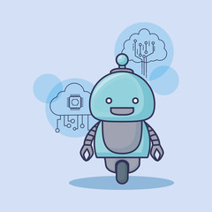 cartoon Robot with artificial intelligence related icons over background, colorful design vector illustration