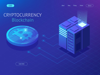 Cryptocurrency and blockchain isometric composition. Big data processing, energy station of future, server room rack, data center