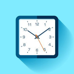 Clock icon in flat style with numbers, square timer on blue background. Business watch. Vector design element for you project
