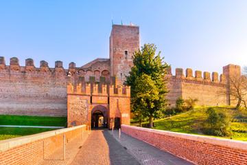 Cittadella city entrance, tower and surrounding walls. Padua, Italy Fototapete