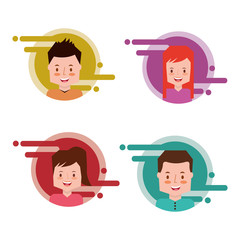 people group in color label avatar character internet vector illustration