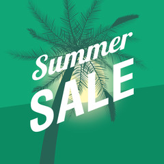 Summer sale design with tropical palms over green background, colorful design vector illustration