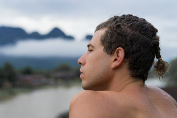 Thoughtful man in nature