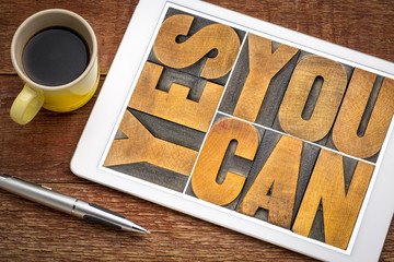Yes you can - motivational text on tablet