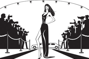 Movie star posing to photographers at celebrity event  - vector illustration