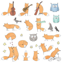 Set of Cute Foxes and Birds.