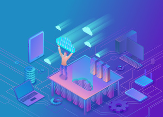 Man holding cloud isometric infographic 3d illustration, landing page layout, vector web template, smart modern technolodgy concept