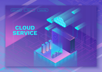Cloud service 3d isometric infographic illustration with man, landing page layout, vector web template, smart modern technolodgy concept