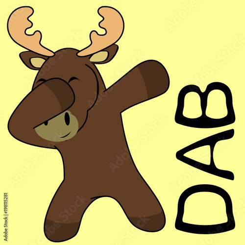 dab dabbing pose moose kid cartoon in vector format very easy to