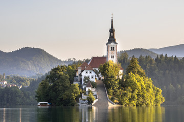 Photo sur Aluminium Edifice religieux Island with church in lake Bled in hazy morning light