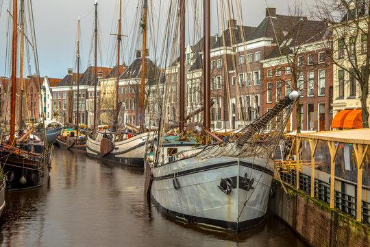 Historic sailing ships at Hoge der Aa